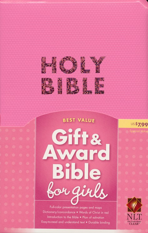 NLT Gift and Award Bible, Bubble Gum Pink Imitation Leather