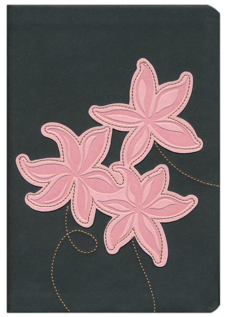 NLT Large Print Compact Edition, TuTone Leatherlike Grey/Pink Flowers