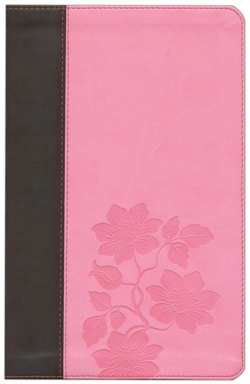 NLT Slimline Center Column Reference, TuTone Leatherlike Dark Brown/Pink Flowers Indexed