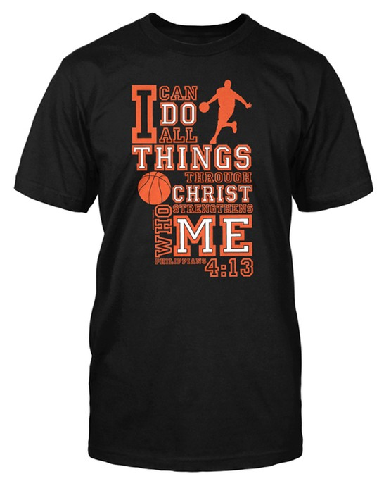 I Can Do All Things Shirt, Basketball, Black, Large