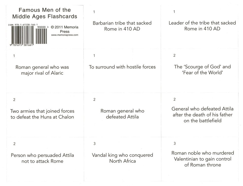 Famous Men of the Middle Ages Flash Cards