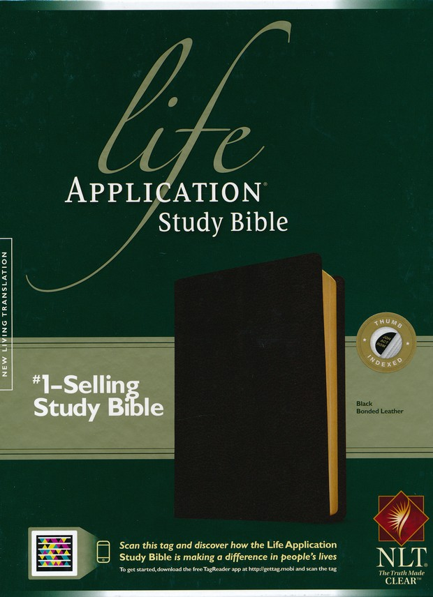 NLT Life Application Study Bible Black Bonded Thumb-Indexed