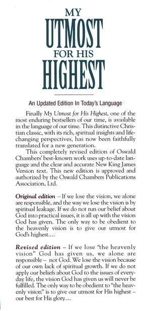My Utmost for His Highest, Updated Edition in Today's English
