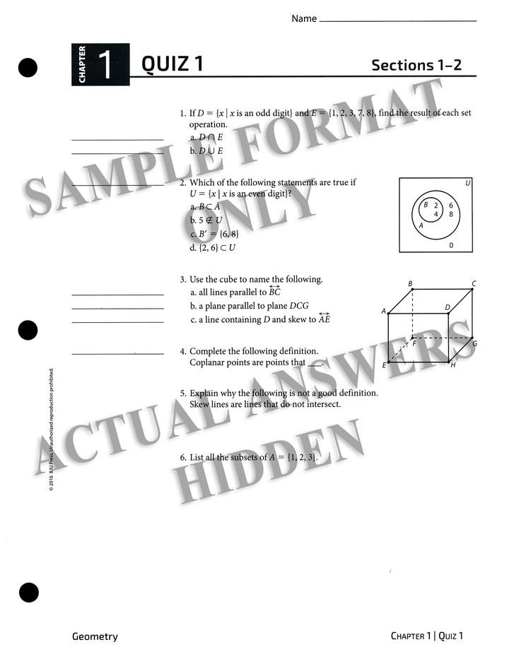BJU Geometry Tests Answer Key, Grade 10 (Fourth Edition)