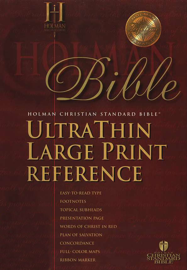 HCSB UltraThin Reference Bible, Large Print Bonded Leather,  Burgundy, Thumb-Indexed