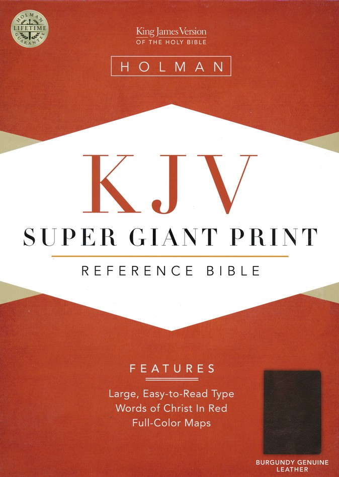 KJV Super Giant Print Reference Bible Burgundy Genuine Leather