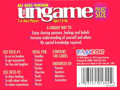 Pocket Ungame, All Ages Version