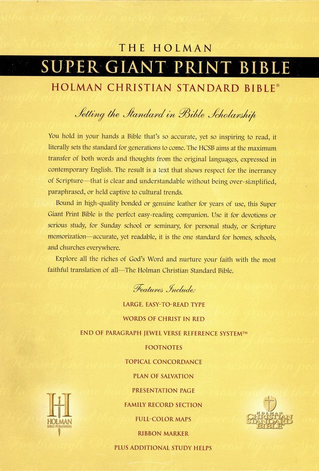 HCSB Super Giant Print Reference Bible, Genuine