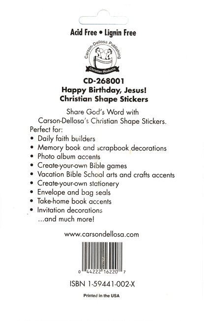 72 Happy Birthday Jesus! Christian Shape Stickers