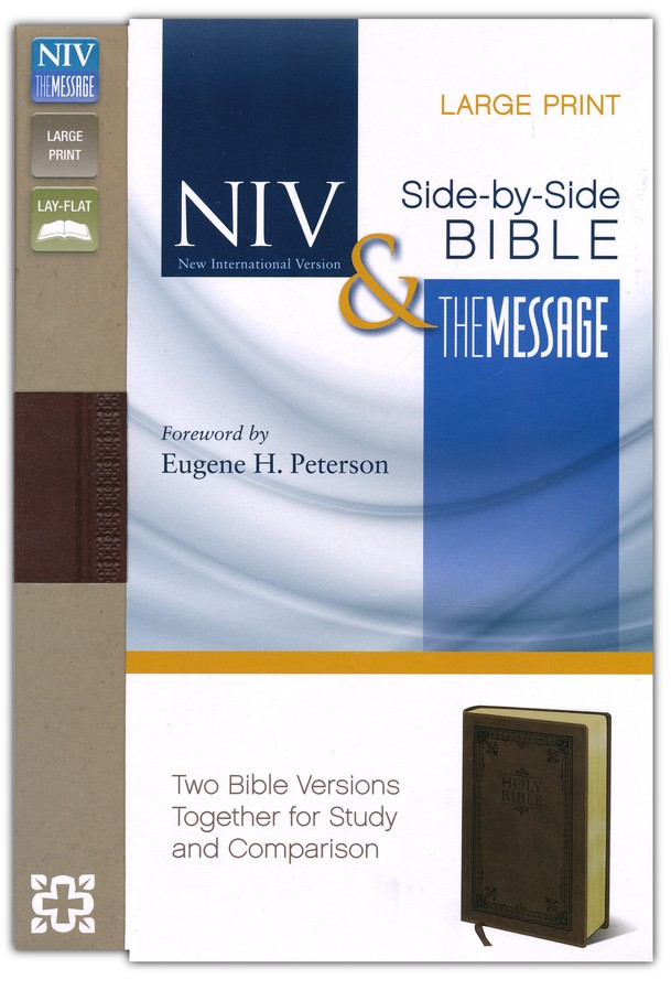 NIV and The Message Side-by-Side Bible, Large Print:   for Study and Comparison, Imitaion Leather, Brown