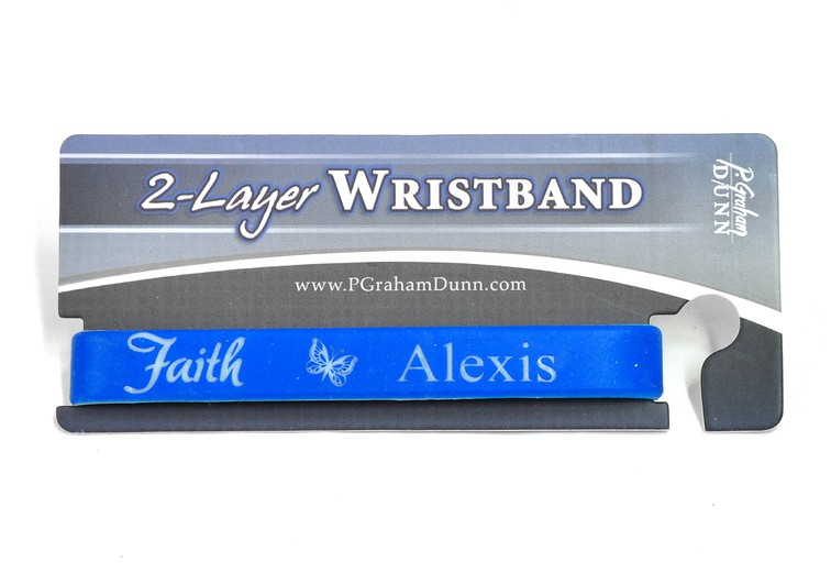 Personalized, Faith Wristband, With Name and Butterfly, Blue