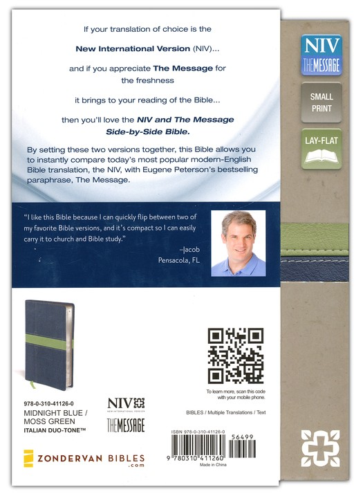 NIV and The Message Side-by-Side Bible, Compact: Two Bible Versions Together for Study and Comparison, Italian Duo-Tone, Midnight Blue/Moss Green