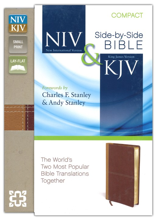 NIV and KJV Side-by-Side Bible, Compact: God's Unchanging Word Across the Centuries, Italian Duo-Tone, Camel/Burgundy