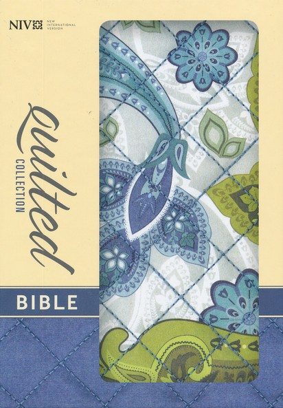 NIV Quilted Collection Bible, Compact, Flexcover, Blue Paisley