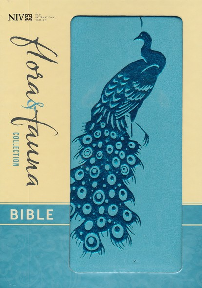 NIV Flora and Fauna Collection Bible, Compact, Italian Duo-Tone, Turquoise/Teal Peacock