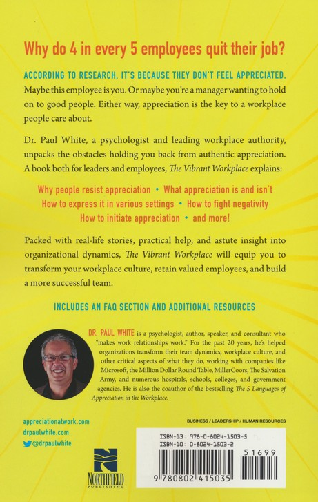 The Vibrant Workplace: Overcoming the Obstacles to Creating a Culture of  Appreciation