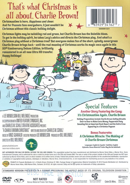 Charlie Brown Christmas 50th.A Charlie Brown Christmas 50th Anniversary Deluxe Edition Dvd