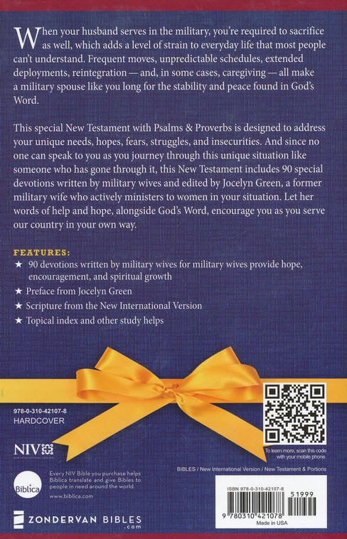 NIV Military Wives' New Testament with Psalms and Proverbs, Hardcover, Jacketed Printed