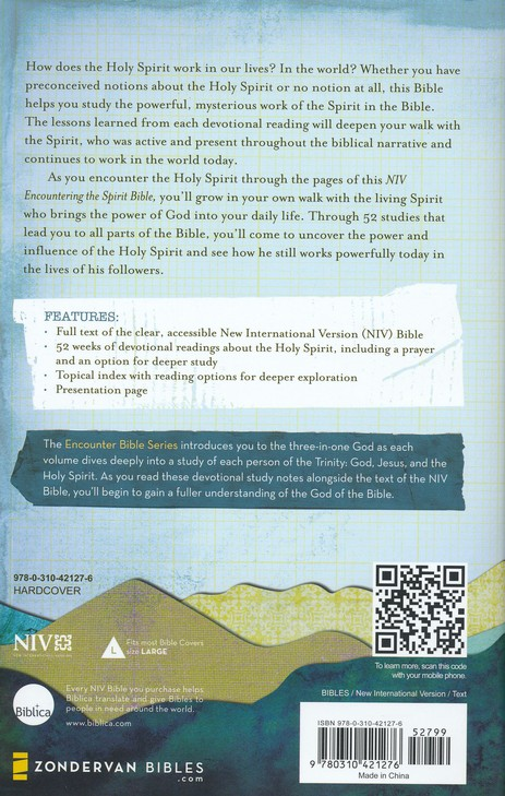 NIV Encountering the Spirit Bible: Discover the Power of the Holy Spirit, Hardcover, Jacketed Printed