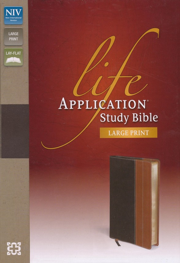NIV Life Application Study Bible, Large Print, Chocolate/Tan, Indexed