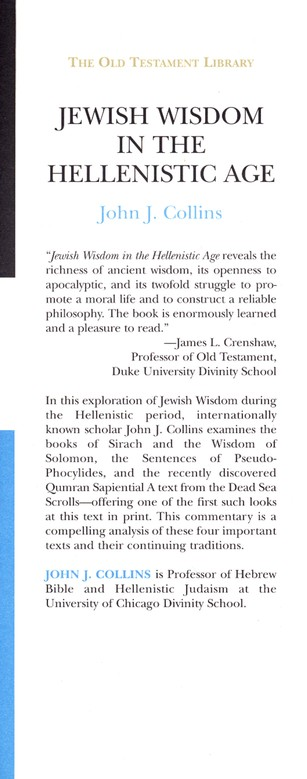 Jewish Wisdom in the Hellenistic Age: Old Testament Library [OTL]
