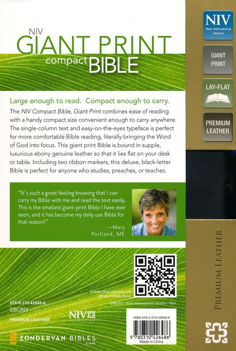 NIV Compact Bible, Giant Print, Premium Leather, Ebony