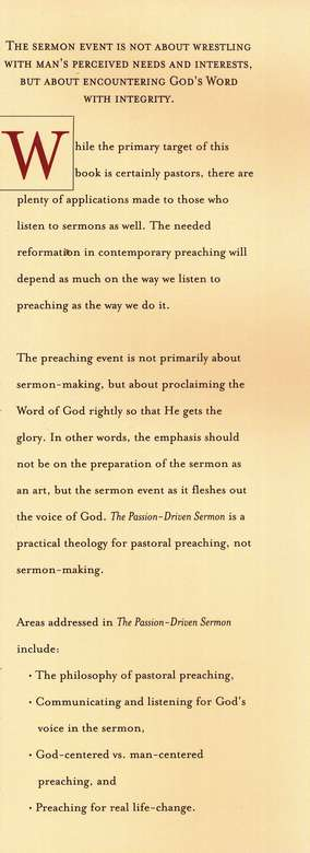 The Passion-Driven Sermon: A Practical Theology for Pastoral Preaching