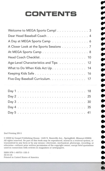 MEGA Sports Camp Baseball Playbook