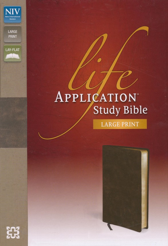 NIV Life Application Study Bible, Large Print, Bonded Leather, Distressed Brown