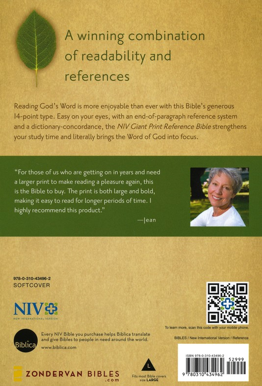NIV Reference Bible, Giant Print