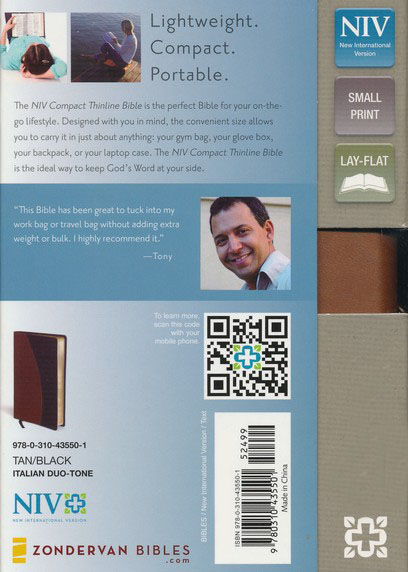 NIV Compact Thinline Bible, Tan/Black Duo-Tone, Limited Edition
