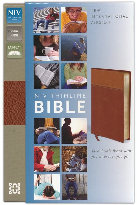 NIV Thinline Bible, Tan/Dark Tan Duo-Tone