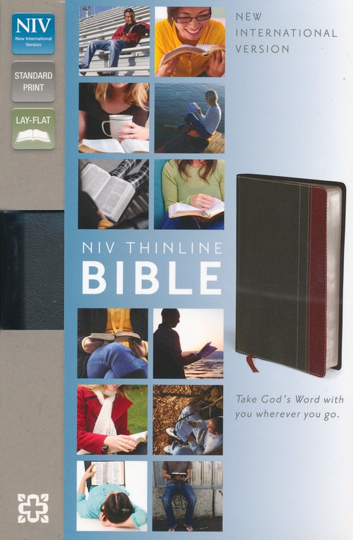 NIV Thinline Bible, Duo-Tone, Charcoal/Rich Red
