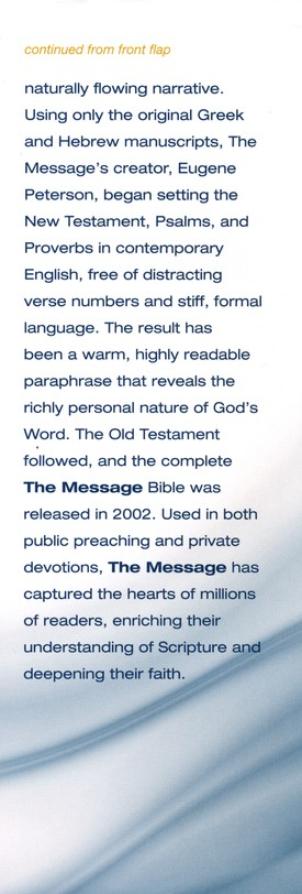 NIV and The Message Side-by-Side Bible: Two Bible Versions Together for Study and Comparison