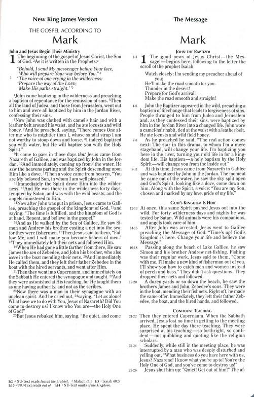 Contemporary Comparative Side-by-Side Bible: NIV/NKJV/NLT/The Message,  Bonded leather, burgundy