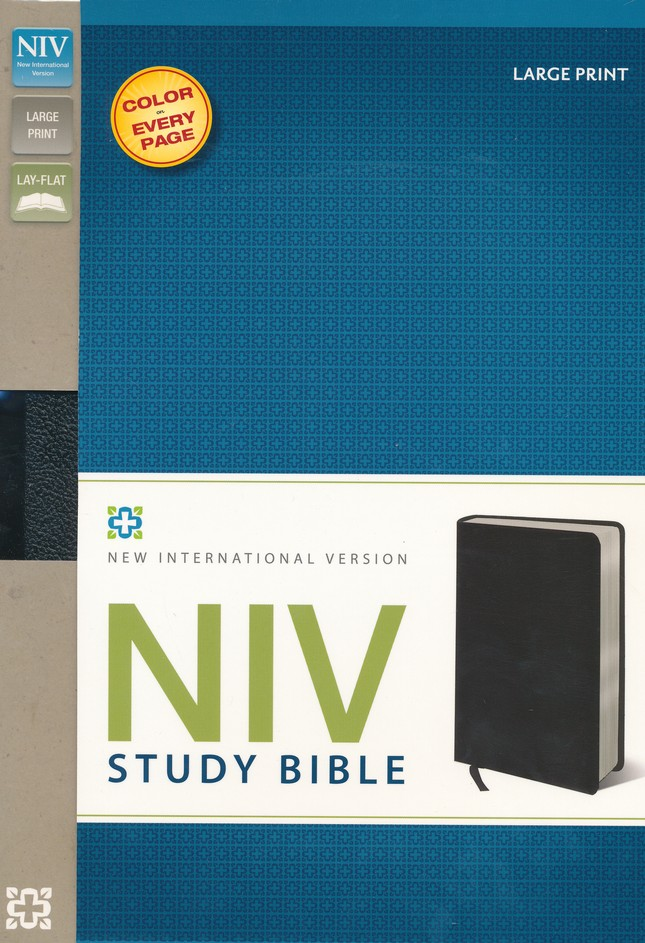 NIV Study Bible, Large Print, Bonded Leather, Black