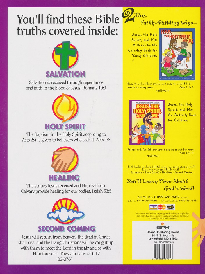 Jesus The Holy Spirit And Me An Activity Book For Children Gospel Publishing House 9780882437613