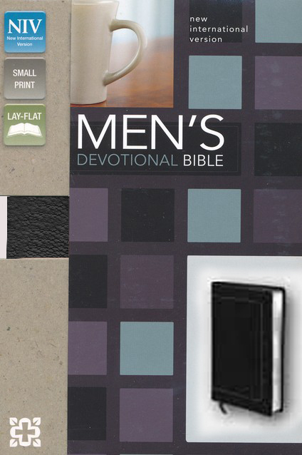 NIV Men's Devotional Bible, Compact, Italian Duo-Tone, Black