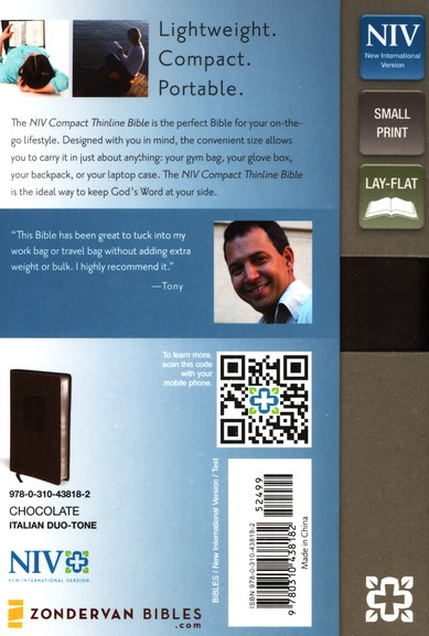 NIV Compact Thinline Bible, Chocolate Duo-Tone