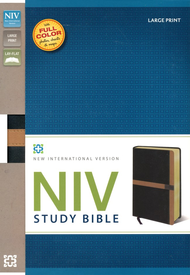 NIV Study Bible, Large Print, Imitation Leather, Black Carmel