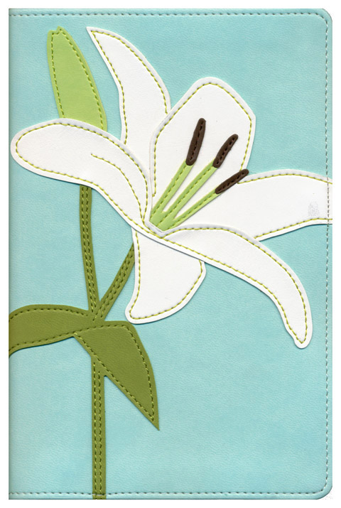 KJV Thinline Bloom Collection Bible, Italian Duo-Tone, White Lily