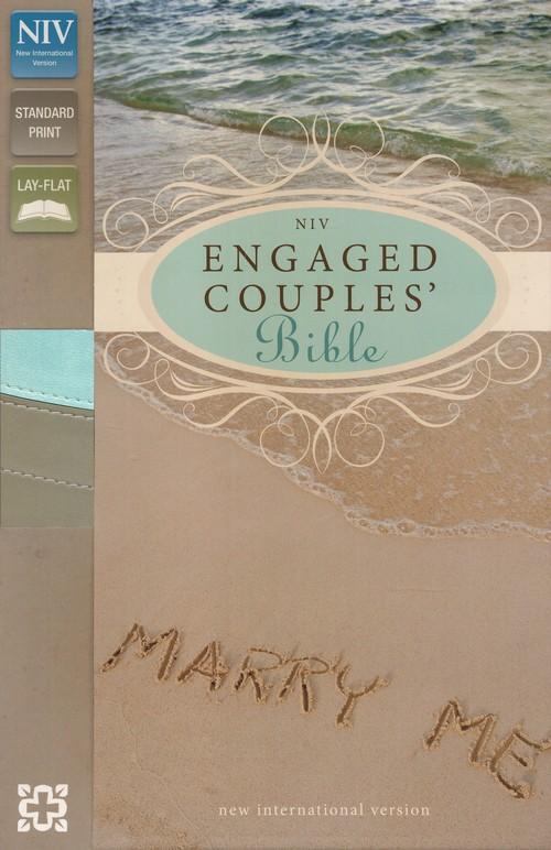 NIV Engaged Couples Bible, Italian Duo-Tone, Sea Glass/Wet Sand