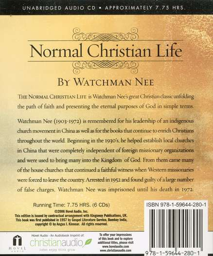 The Normal Christian Life - audiobook on CD