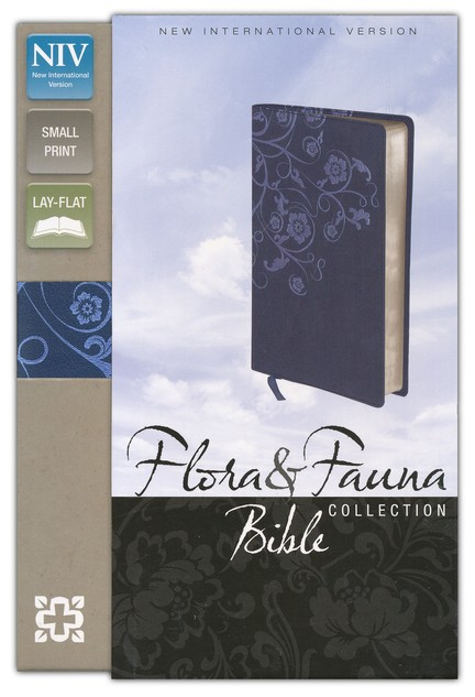 NIV Flora and Fauna Collection Bible, Compact, Italian Duo-Tone, Marina Blue/Floral