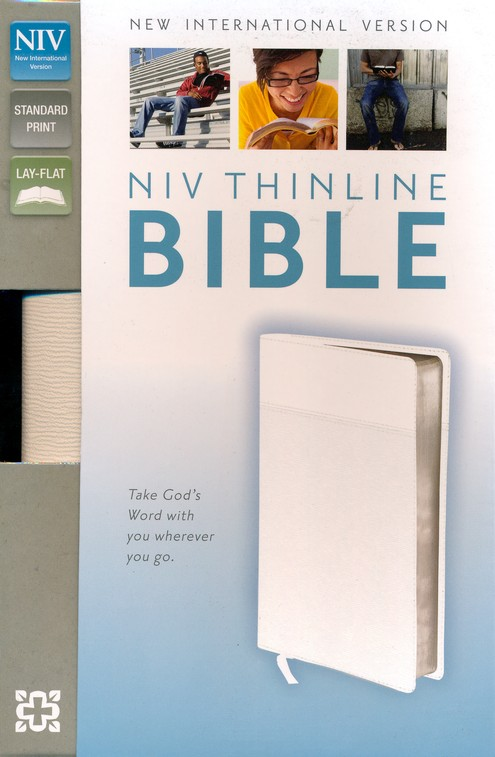 NIV Thinline Bible, Imitation Leather, White