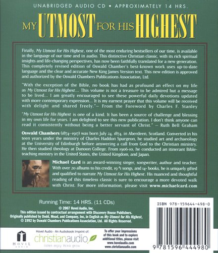 My Utmost for His Highest                      Audiobook on CD