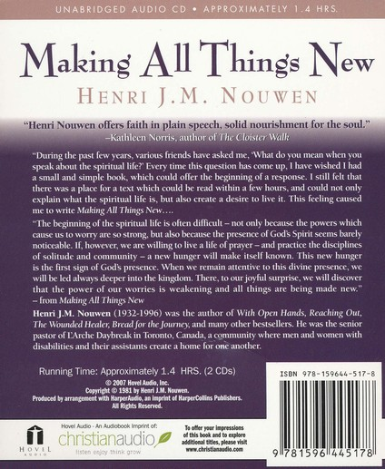Making All Things New: An Invitation to the Spiritual Life--Unabridged CD