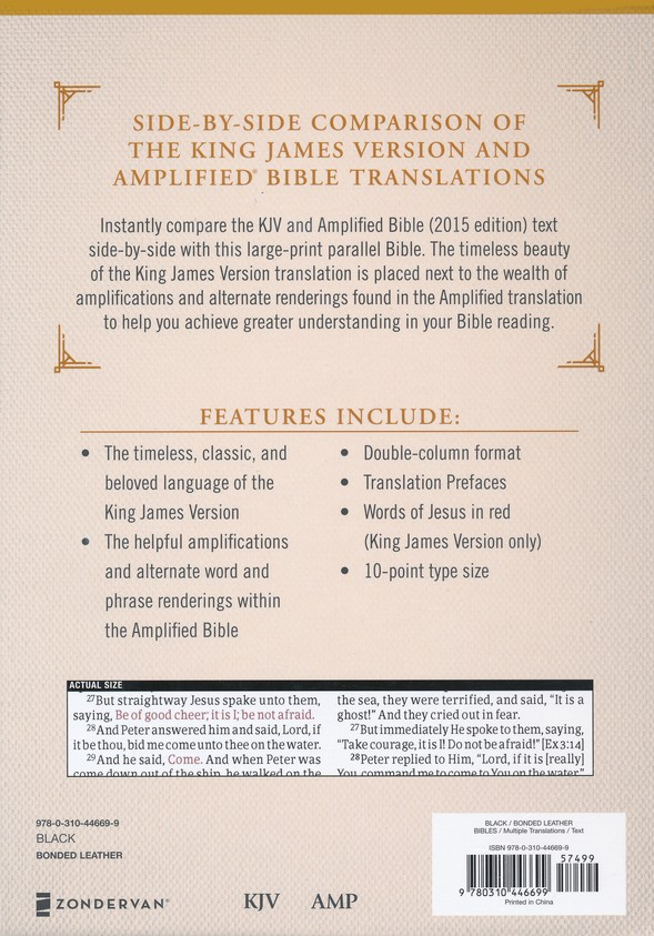 KJV and Amplified Parallel Bible, Large Print, Bonded Leather, Black