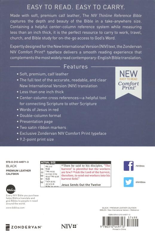 NIV Comfort Print Thinline Reference Bible, Premium Leather, Calfskin, Black