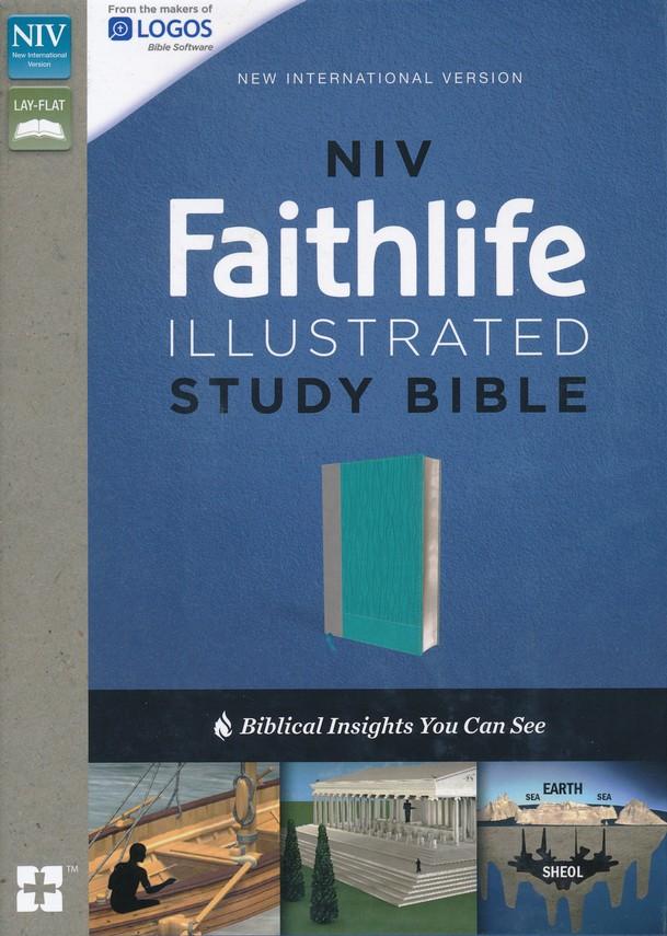 NIV, Faithlife Illustrated Study Bible, Imitation Leather, Gray/Blue